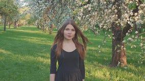 Молодая женщина идя в яблоневый сад весной цветет белизна Портрет красивой девушки в плодоовощ вечера акции видеоматериалы