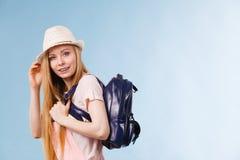 Молодая женщина идя к школе Стоковая Фотография RF
