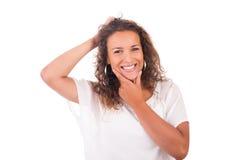 Молодая женщина изолированная с белой предпосылкой стоковое изображение rf