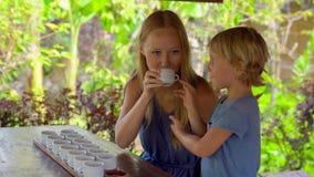 Молодая женщина и ее меньший сын на дегустации чая, degustationin тропическое кафе видеоматериал
