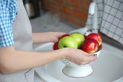 Молодая женщина моя зрелые яблока Стоковая Фотография
