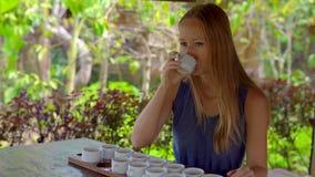 Молодая женщина на дегустации чая, degustationin тропическое кафе акции видеоматериалы