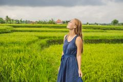 Молодая женщина на зеленой плантации поля риса каскада bali Индонесия стоковое фото