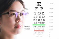 Молодая женщина на предпосылке диаграммы испытания зрения Зрение и глаз Стоковые Изображения RF