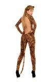 Молодая женщина одетая как леопард стоковое фото rf