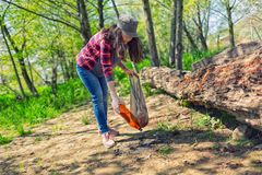 Молодая женщина очищает парк в субботу Консервация экологичности леса Eco стоковая фотография