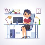 Молодая женщина работает в офисе ART зажима вектора иллюстрация штока
