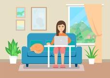 Молодая женщина работая на дому Плоский стиль иллюстрация вектора