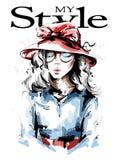 Молодая женщина руки вычерченная красивая в красной шляпе Стильная девушка Взгляд женщины моды Эскиз иллюстрация штока