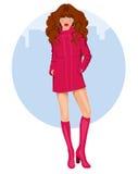 Молодая женщина с пальто и ботинками Стоковые Изображения RF