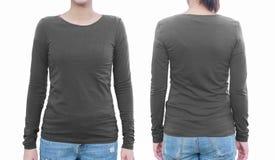 Молодая женщина с пустыми серыми рубашкой, фронтом и задней частью С clippin Стоковая Фотография