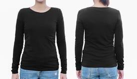 Молодая женщина с пустыми черными рубашкой, фронтом и задней частью С путем клиппирования Стоковые Изображения RF