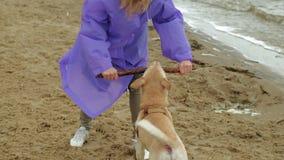 Молодая женщина с собакой на пляже рекой акции видеоматериалы
