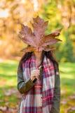 Молодая женщина с удерживанием кленовый лист перед ее стороной стоковые изображения