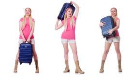 Молодая женщина с чемоданом готовым на праздник пляжа Стоковое фото RF