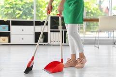 Молодая женщина с чисткой веника и dustpan Стоковое Изображение RF