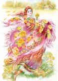 Молодая женщина с шалью иллюстрация штока
