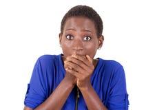 Молодая женщина удивленная увидеть что-то стоковое изображение