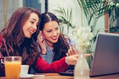 Молодая женщина указывая на ноутбук наблюдая и обсуждая видео с другом в кафе стоковые фото