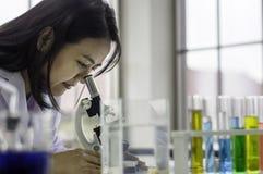 Молодая женщина химика смотря через микроскоп, работая на лаборатории, химическое испытание в лаборатории, концепция для улучшать стоковые изображения