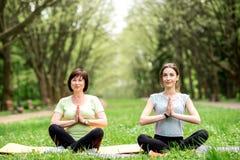 Молодая и старшая женщина делая йогу в парке Стоковые Изображения RF