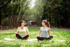 Молодая и старшая женщина делая йогу в парке Стоковая Фотография