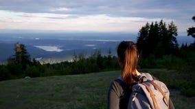 Молодая кавказская женщина брюнета с рюкзаком идя вниз с пути горы в лесе с солнцем светя на ей сток-видео
