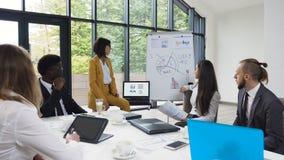 Молодая коммерсантка давая представление разнообразным бизнесменам на встрече, представляя новый проект к коллегам акции видеоматериалы