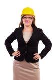 Молодая коммерсантка нося hardhat Стоковая Фотография RF