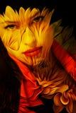 Молодая красивая двойная экспозиция портрета фантазии женщины Стоковая Фотография RF