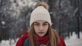 Молодая красивая девушка внутри в теплых одеждах идя около рождественских елок движение медленное Портрет стильных детенышей видеоматериал