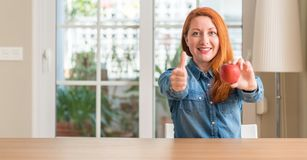 Молодая красивая женщина redhead дома стоковое фото rf