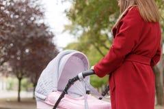 Молодая красивая мама идя с младенцем в парке Стоковое фото RF