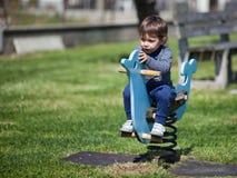 Молодая маленькая девочка имея потеху в парке Стоковое Изображение RF