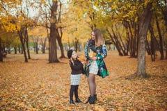 Молодая мать играя с ее дочерью в парке осени стоковое фото rf