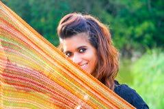 Молодая модель с шарфом Стоковое Изображение
