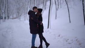 Молодая пара встречает в снежных парке и целовать Дата молодых пар r сток-видео