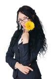 Молодая прелестно женщина дела в темном платье Стоковые Изображения
