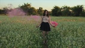 Молодая привлекательная девушка брюнета в юбке с розовой бомбой дыма на поле Девушка имея наслаждаться потехи смеясь и видеоматериал