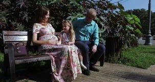 Молодая семья в парке сток-видео