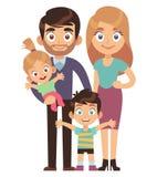 Молодая семья Мать и отец с характера общества отношения сестры брата детей вектором традиционного плоским иллюстрация штока