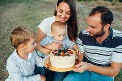 Молодая семья наслаждаясь тортом в парке стоковые изображения
