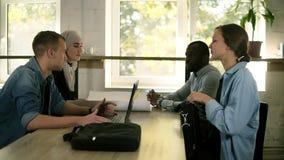 Молодая смешанная гонка и культурные деловые партнеры или коллеги имеют встречу совместно, сидящ на ноутбуках таблицы открытых видеоматериал