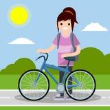 Молодая смешная девушка в образе жизни рубашки и джинсов активном бесплатная иллюстрация