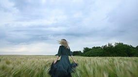 Молодая счастливая белокурая девушка бежит на зеленом пшеничном поле в вечере на фоне неба дождя Взгляд от сток-видео