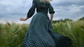 Молодая счастливая белокурая девушка бежит на зеленом пшеничном поле в вечере на фоне неба дождя Взгляд от видеоматериал