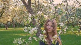 Молодая счастливая женщина идя в яблоневый сад весной цветет белизна красивейшая женщина портрета акции видеоматериалы