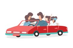 Молодая счастливая семья путешествует на красном автомобиле Папа и мама и их маленькие дети бесплатная иллюстрация
