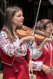 Молодая украинская певица скрипки девушки от Banat, в традиционном co стоковые изображения rf