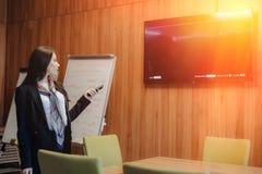 Молодая эмоциональная привлекательная девушка в стиле дела одежды переключает дистанционное управление к ТВ в офисе или стоковая фотография